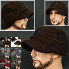 Cadet Box HOC BROWN Visor Beanie Chullo Skull Knit Cap Hat Ear wamer EarFlap