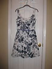 FOREVER Blue and White Print Cotton Balloon Hemline Dress ~ Sz M ~ Super Cute!