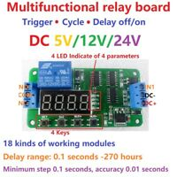DC 5V 12V 24V Multifunction Self-lock Relay PLC Cycle Timer Module Delay Switch