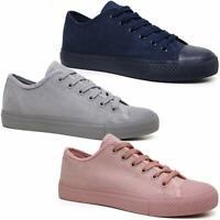 Ladies Lace Up Casual Retro Faux Suede Deck Skate Gym Trainers Pumps Shoes Size