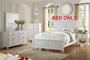 1pc Modern Queen Bed White HB Designed Bedroom Furniture Particle Board Wood