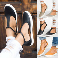Womens Summer T-Strap Pumps Flat Sandals Ankle Buckle Casual Beach Loafers Shoes