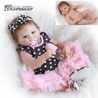 "23"" Handmade Full Silicone Body Reborn Girl Baby Doll Newborn Vinyl  Lovely Toys"