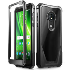For Moto G6 Play Poetic Guardian w/ Built-in-Screen Protector Case Cover Black