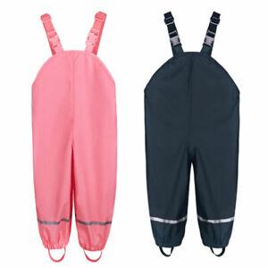 Children Kids Rain-proof Pants Ourdoor Waterproof Trousers Solid Boys Girls