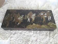 PLUMIER EN BOIS NOIR NAPOLEON III SCENE JAPONISANT ANTIC PENCIL WOOD BOX XIXth