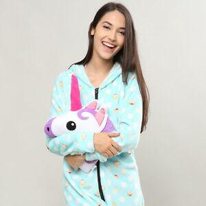 Unicorn Emoji Head Pillow Pink and Purple Cushion Soft Cuddly Plush Large *UK*