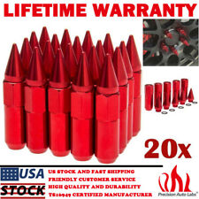 20Pcs Aluminum Spike Tuner Extended Lug Nuts for Wheels Rims M12X1.5 60mm RED