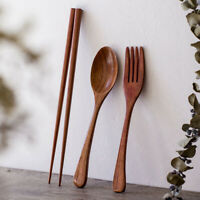 Wooden Cutlery Set Portable Eco-Friendly Reusable Spoon Fork Chopsticks  #D