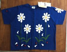 NWT Womens BUTTON FRONT LADYBUG FLOWER SWEATER The Quacker Factory QVC Blue 3x