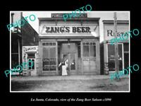 OLD LARGE HISTORIC PHOTO OF LA JUNTA COLORADO, THE ZANG BEER SALOON c1890