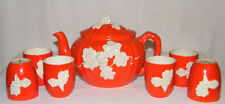 "RARE Vintage 1930's (8)pc ""THE HINODE"" TEA/SAKE SET Orange/White Pot/Lid/6 Cups"