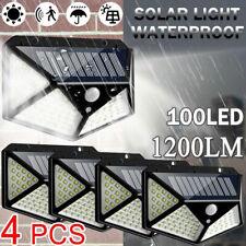 4 X 100 LED Solar Powered Light Outdoor Motion PIR Sensor Wall Yard Garden Lamps