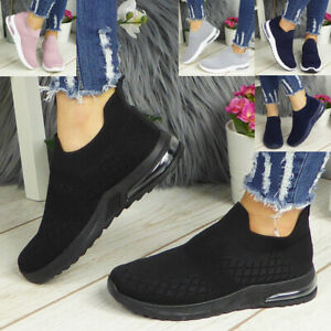 Womens Ladies Sock Trainers Sneakers Slip On Jogging Plimsole Pumps Shoes Size
