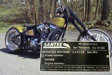 SANTEE VIN DATA PLATE RIGID / trike HARDTAIL FRAME HARLEY Bobber Sportster HONDA
