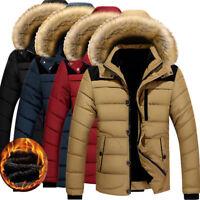 Winter Men's Cotton Coat Thicken Warm Outwear Parka Hooded Fur Collar Jacket Hot