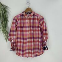 Anthropologie Isabella Sinclair Womens Button Up Shirt Size S Pink Plaid Top I8