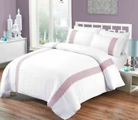 Cotton Embroidered White Doona Duvet Quilt Cover Set Queen And King size