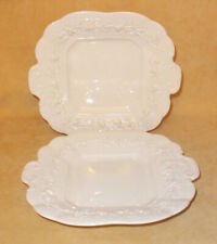 Set of 2 Wedgwood Embossed Queensware Square Soup Bowls Cream Grapes & Vine