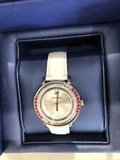 Swarovski Playful Lady Fuchsia Clear Crystals Leather Watch 5243053