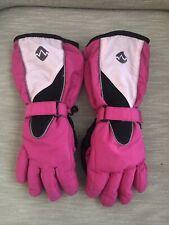 Girls Pink Waterproof Ski Gloves, long w/Hook And Loop Closure; Sz. S-M by Abg