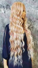 Light Blonde Ombre Long Loose Waves Lace Front Human Hair Blend Wig STEV 27/613