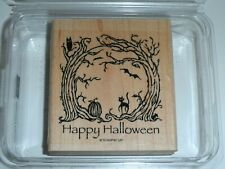 Stampin' Up HAUNTED FOREST Rubber WM Stamp ~ Happy Halloween Owl Cat Bat Pumpkin