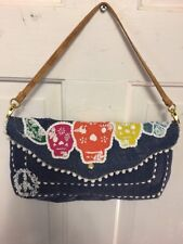 NEW LOOP NYC PURSE KAWAII URBAN BOHO CASE BURLAP DAY OF THE DEAD SKULL BAG