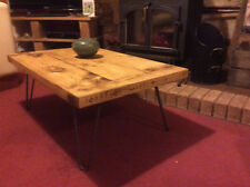 Solid Wood Coffee Table Retro Hairpin Legs Handmade Chunky Rustic Oak Finish