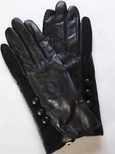 Ladies Lambswool lined Genuine Leather Gloves, Large,Black