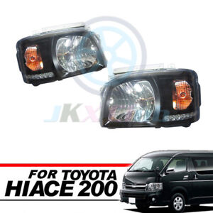 Clear Lens Black Base DRL HeadLight Lamp Fit For Toyota Hiace 200 Van 2005-2010