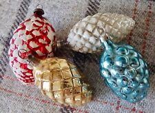 4 Vintage Mercury Glass Pine Cone Shape Christmas Tree Baubles Decorations Ornam