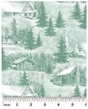Winter Fabric - Ski Country Cabin Lodge Toile Green-Blue - Benartex Kanvas YARD