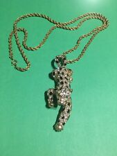 Leopard Pendant/Necklace - Rhinestone Encrusted