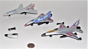 1Lot of 3 Toy Air Planes Die Cast Metal Military Jets