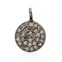 Halloween Day Gift Pave Diamond Disc Charm Pendant 925 Sterling Silver Jewelry
