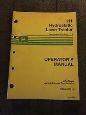John Deere 111 Hydrostatic Lawn Tractor Operators Manual
