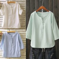 Lady Ethnic Casual Linen T-shirt Frog Button Scoop Henley Neck Tops Shirt Blouse