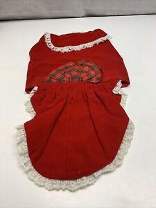 Dog Costume Christmas Dress Red Velvet Bow Razz Pe Taz Size M
