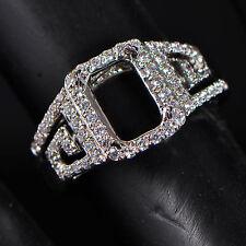 Gold Semi Mount Natural Diamond Ring 6x8mm Emerald Cut Solid 14k 585 White