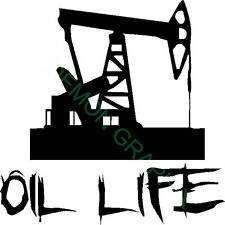 Oil Life pump jack vinyl decal/sticker oilfield rig hand/roughneck 5x5 oil & gas