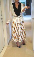$1900 Christopher Kane White Floral Print Midi Pleated Skirt IT 42 US 6 AU 10