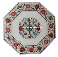 """12"""" Carnelian Marquetry Marble Inlay Table Top Collectible Mosaic Decor H1290"""