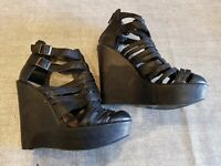 New look size 4 (37) black faux leather zip up buckle strap platform wedge heels