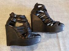 New look size 4 (37) black faux leather zip up buckle strap platform wedge heels