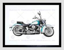 VINTAGE MOTORCYCLE CHOPPER WHITE BLUE BLACK FRAMED ART PRINT PICTURE B12X9662