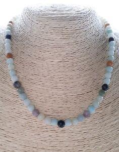 Ladies Necklace Blue Brown Black mixed Amazonite Faceted Gemstones FQli Handmade