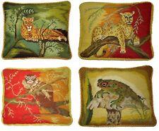 "Set of 4 Handmade Wool Needlepoint Cheetah Leopard Monkey Frog Pillow 10"" x 12"""