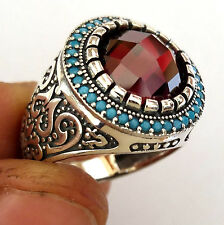 Turkish 925 Silver Garnet & Turquoise Stone Men's Ring Sz 9.5 us #n156 fr.resize