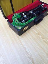 PROFESSIONAL SCOTTISH BLACK BAGPIPE FNS MOUNTS IRISH TARTEN FREE CHANTR HARDBOX